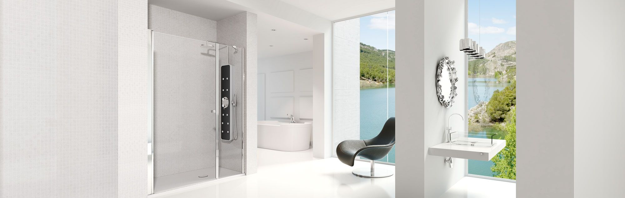 Arcoris Plus Collection swinging made to measure bathroom enclosures