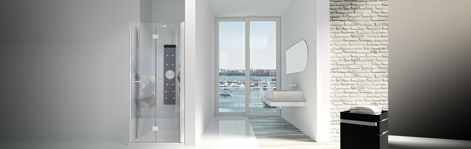 Serie Arcoíris Plus de mamparas plegables de baño a medida