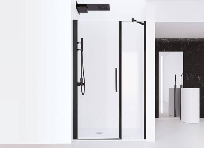 Divisória duche perfil preto de folhas abatíveis Profiltek AC205
