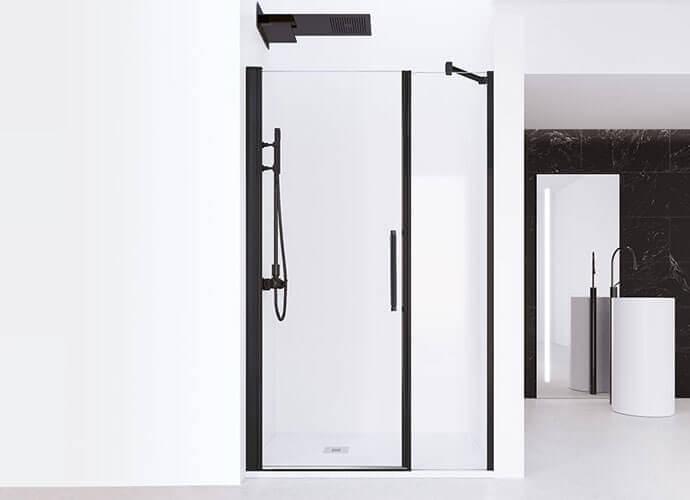 Swinging shower enclousure with black profile Profiltek AC205