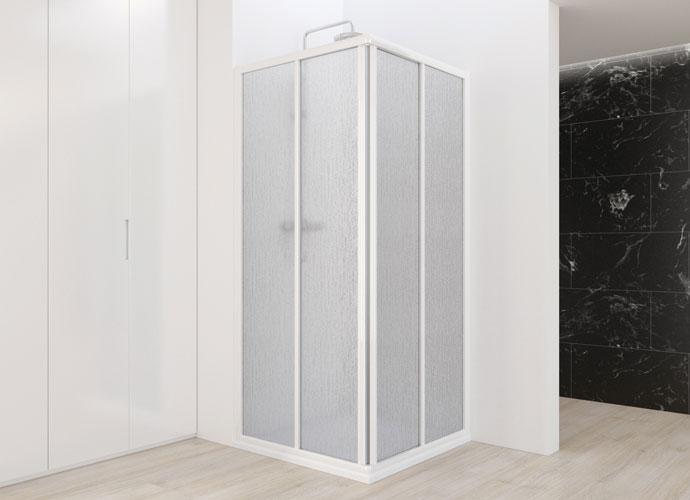 Mampara de baño corredera Profiltek serie Aurum con acabado blanco