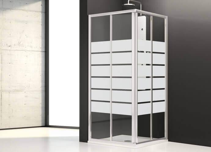 Mampara de baño corredera Profiltek serie Aurum con acabado Satinado Bold
