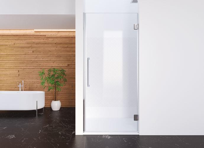 Mampara de ducha minimalista abatible decorado Imagik a medida Profiltek CH210