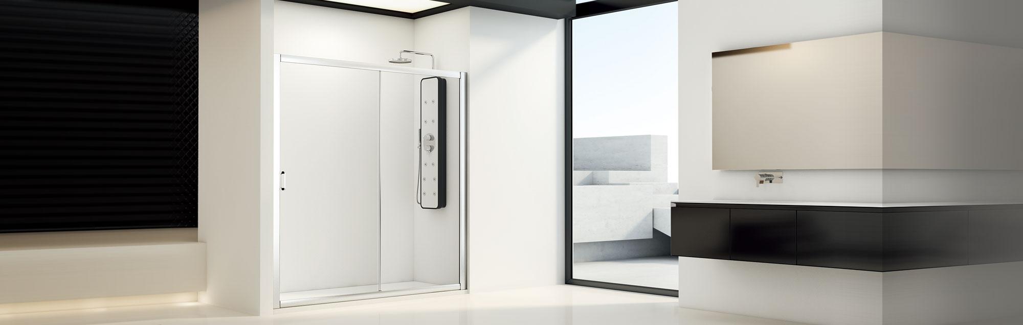 Serie Cristaldux di box doccia scorrevoli su misura
