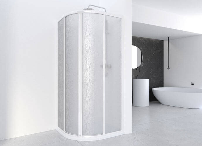 Divisória corrediça curva para duche Profiltek série Cumus