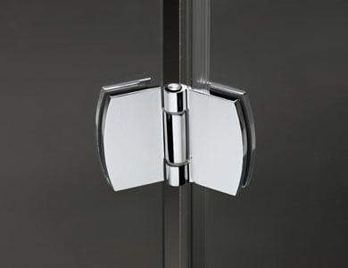 Détail charnière chrome brillant NEWGLASS Profiltek