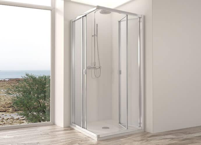 Mampara de ducha plegable Profiltek serie Dumas angular abierta
