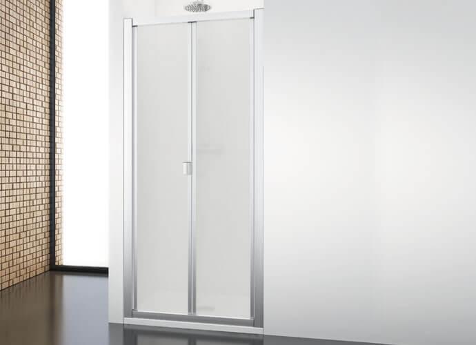 Mampara ducha plegable acabado perfil plata brillo a medida Profiltek DU211