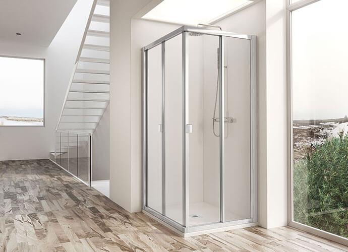 Mampara ducha en esquina plegable a medida Profiltek du221