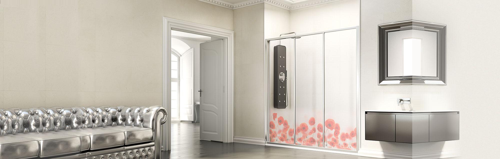 Serie Ecodux di box doccia scorrevoli su misura