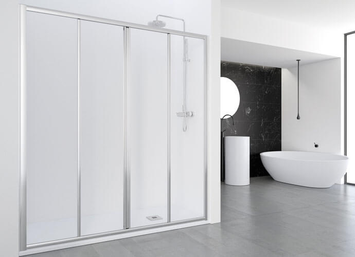 Mampara ducha corredera a medida perfil acabado plata alto brillo Profiltek EC225