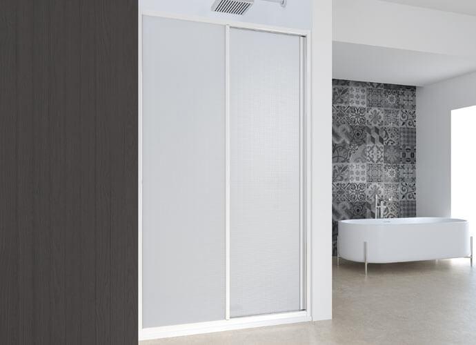 Mampara baño puertas correderas acabado blanco Profiltek EC211
