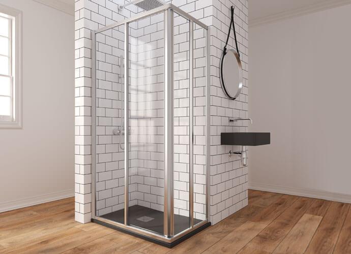 Mampara baño puertas correderas con hojas fijas acabado cromo brillo EC220