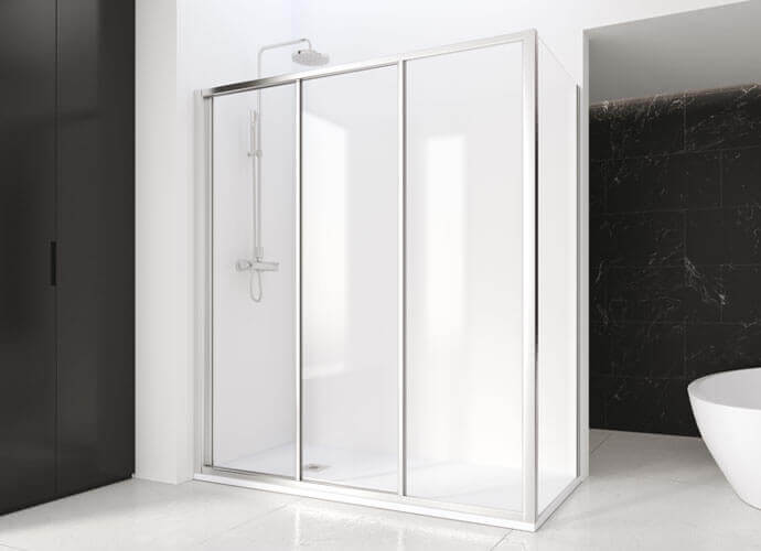Mampara de ducha corredera Profiltek serie Eddy fijo lateral