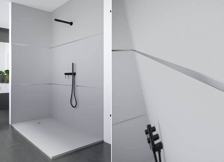 End profile shower trays Profiltek