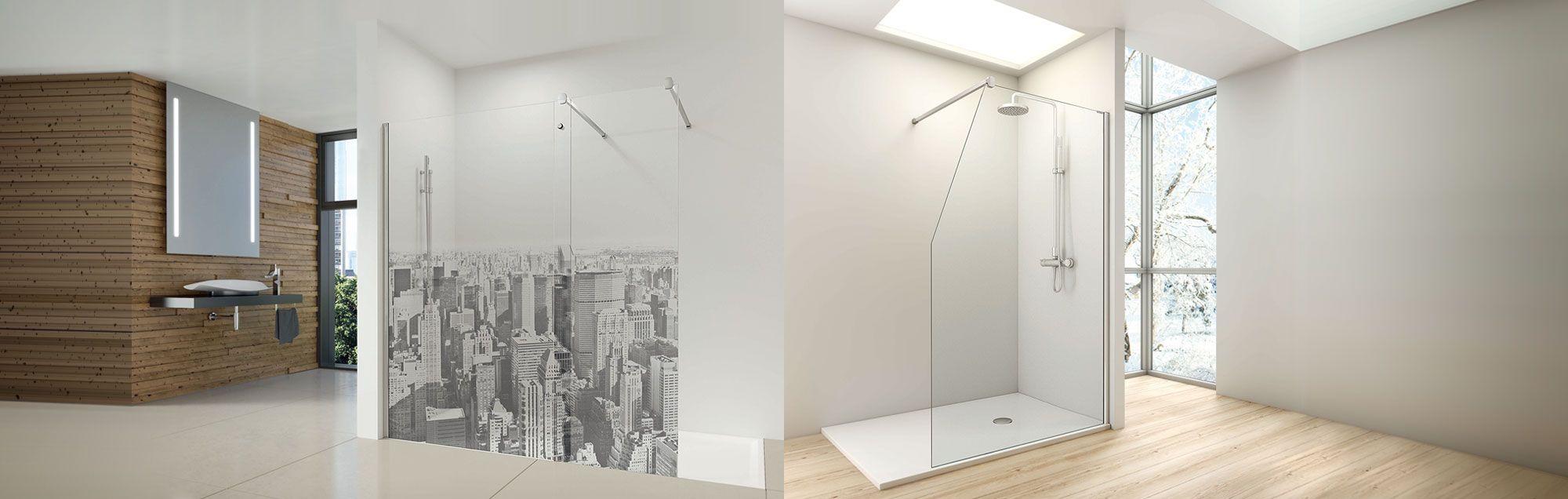 Serie Fijos One de mamparas walk-in de ducha y bañera a medida