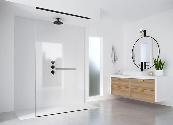 Mampara ducha fijos one a medida toallero Viena Profiltek OL-2015