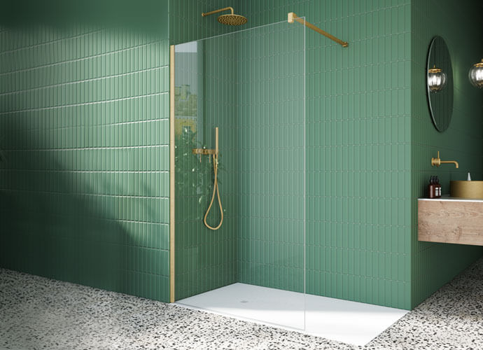 Fixed One XXL bath screen, matt gold finish Profiltek