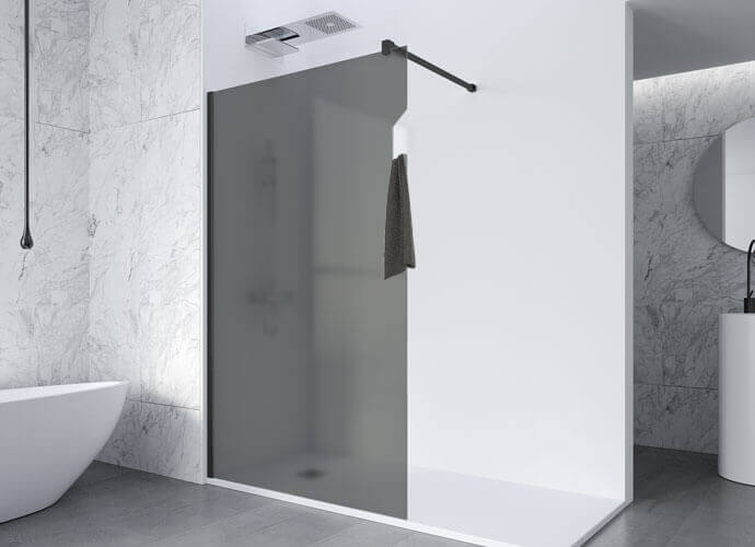 Fixed shower enclousure with towel holder integrated