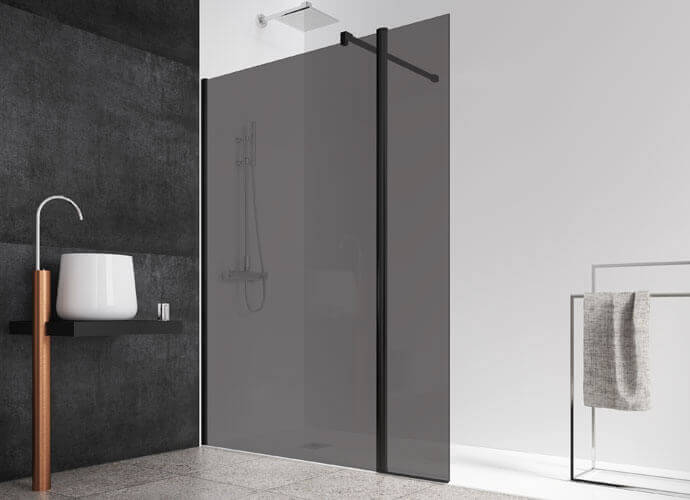 Fixed shower enclousure with smoked grey glass