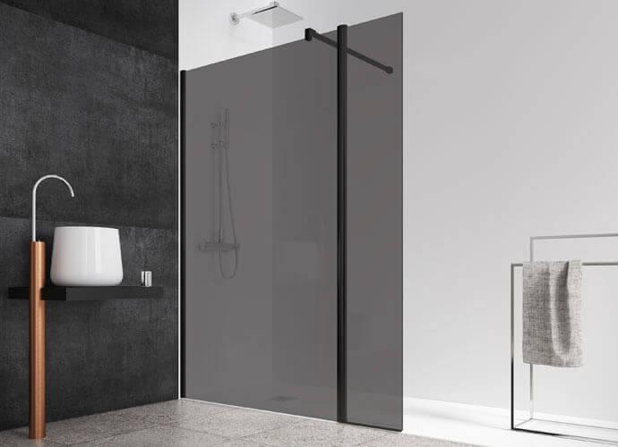 Parois de douche fixe avec verre gris fumé Profiltek