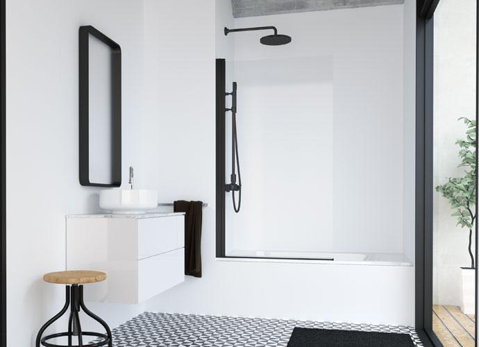 Divisória para banheira de folha abatível stock Profiltek série Hada Plus