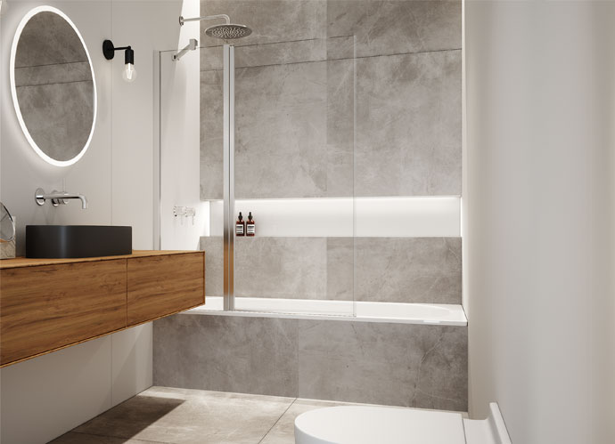 Mampara de bañera abatible stock Profiltek serie Hada Plus una hoja fija y una abatible