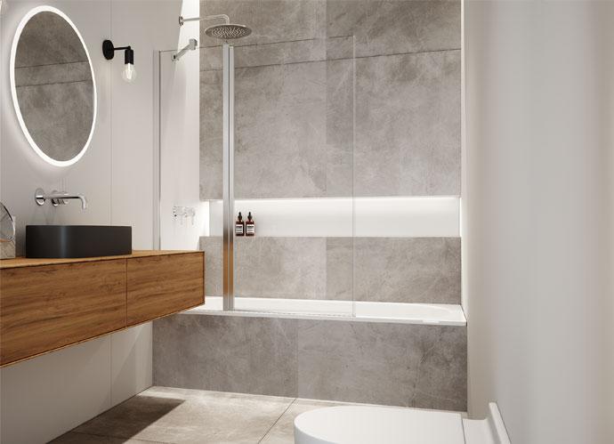 Divisória para banheira de folha fixa + 1 folha abatível stock Profiltek série Hada Plus