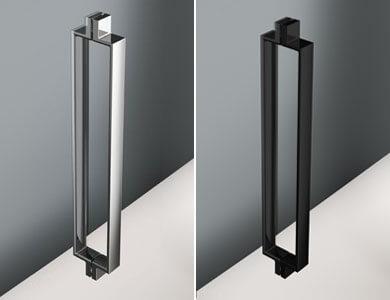 Handle Turín standard. High Gloss Chrome/Black Finish NEWGLASS Hinged Model Profiltek