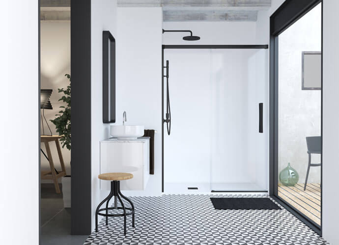 Mampara ducha a medida puertas correderas acabado negro