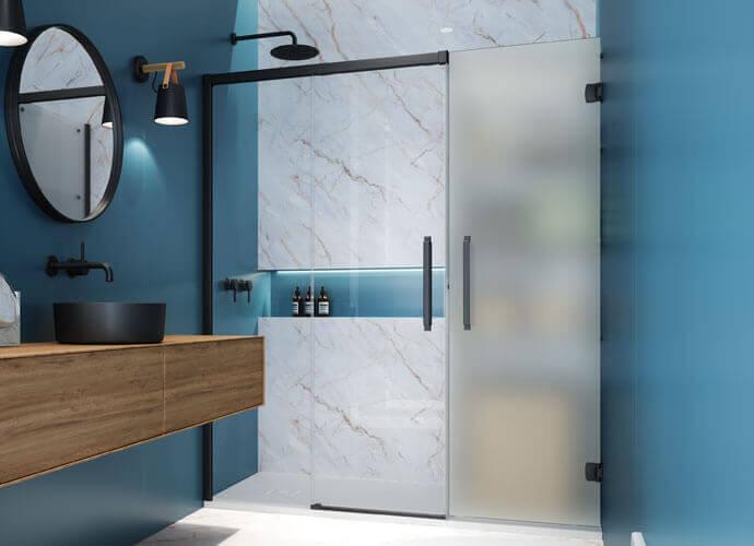 Parois Hit transparent et acide avec la porte de douche fermé Profiltek