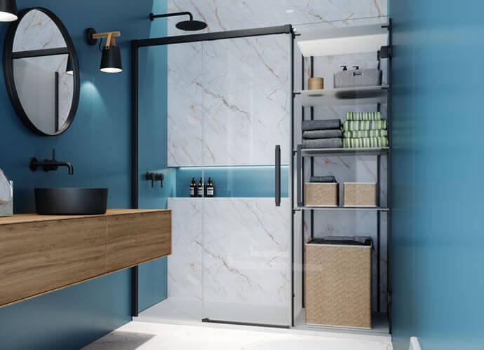 Parois Hit transparent avec la porte de douche fermé et étagères regulables Profiltek