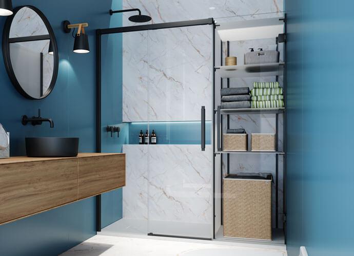 Konvert Hit divisória banho corrediça com armario perfil preto