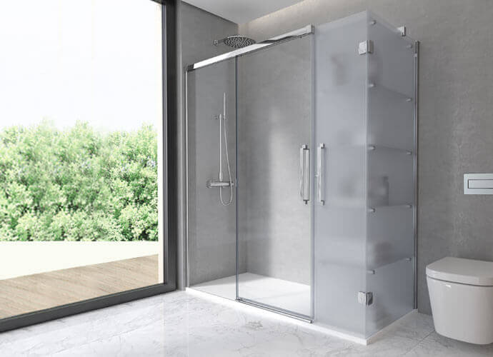 Shower enclousure with fixed lateral transparent and etched