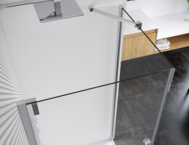 Front detail 1 swing door + 1 fixed side door KEISY Profiltek