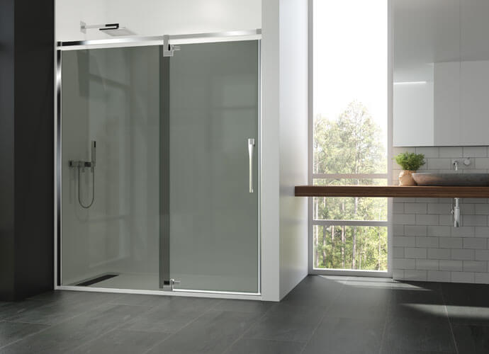 Divisória para duche abatívei Profiltek ke206 gris fumo