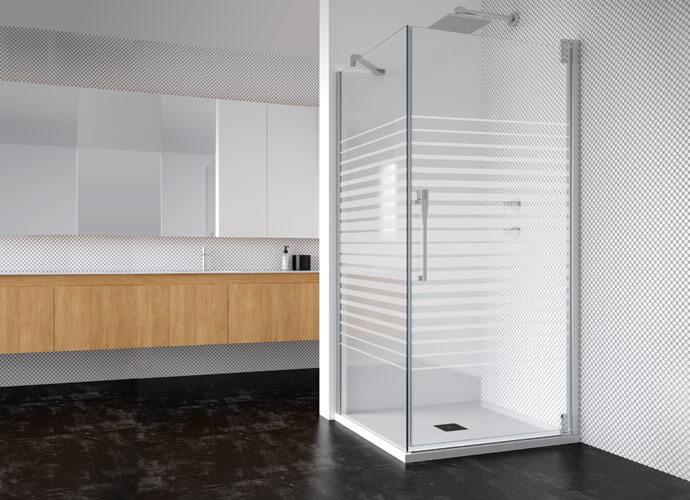 Mampara baño puerta abatible pivotante a medida Profiltek ke208