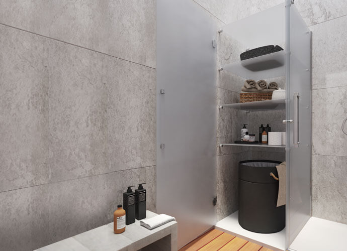 Konvert Arcoiris Plus mampara baño plegable con armario