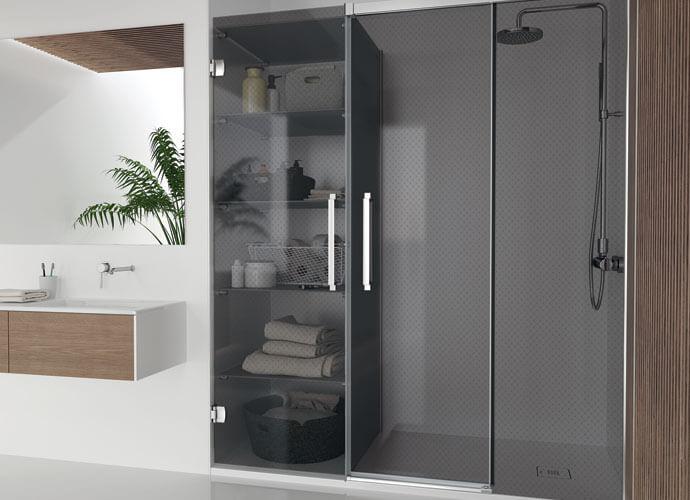 Konvert Hit mampara baño corredera con armario vidrio gris humo