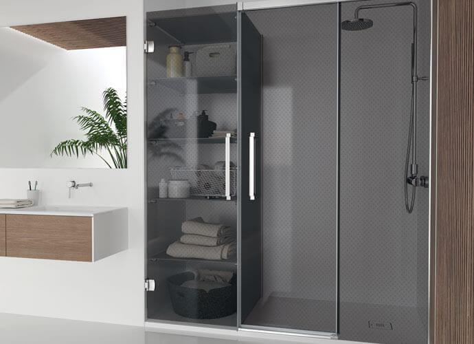 Sliding shower enclousure Hit Konvert smoked grey closed Profiltek