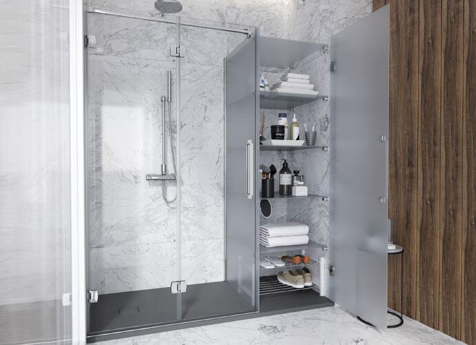 Konvert newglass divisória banho dobrável perfil acabamento cromo brilho