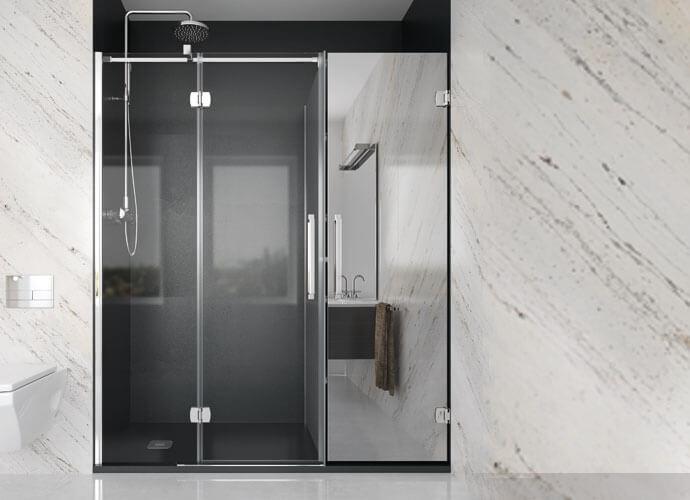Konvert newglass divisória banho abatível com armario espelho