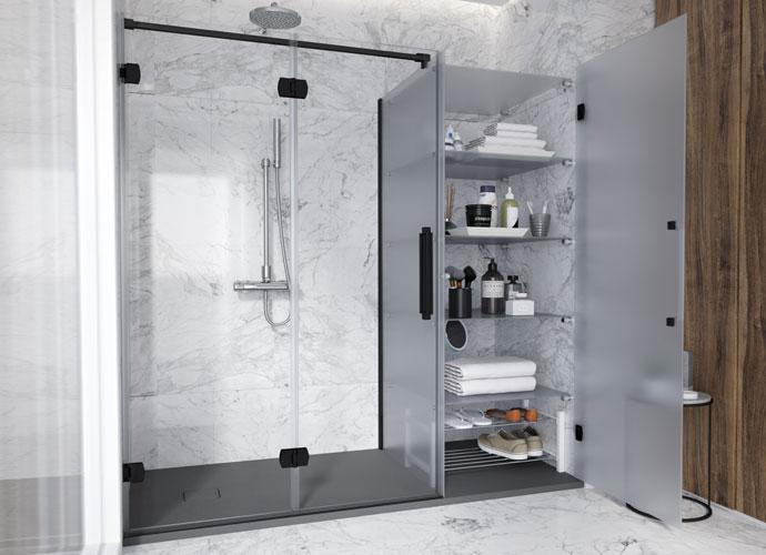 Konvert newglass divisória banho dobrável acabamento preto