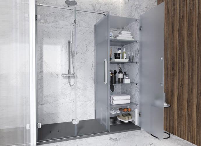 Konvert newglass folding bath panels profile glossy chrome finish