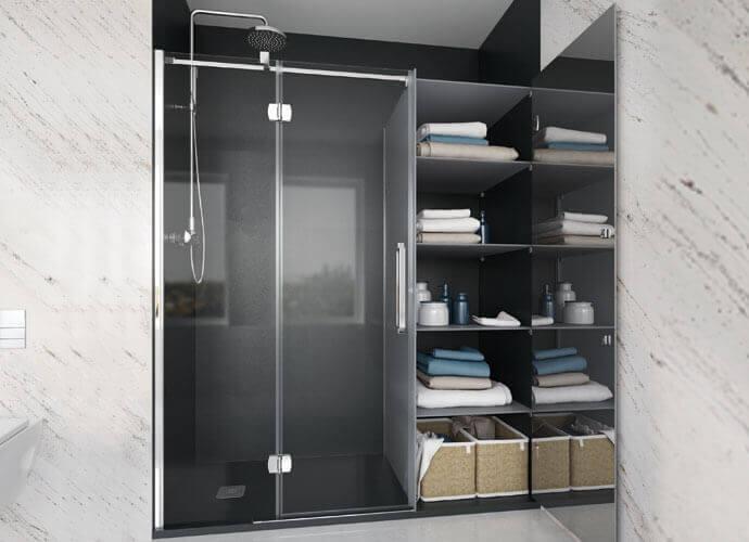 Parois de douche battante newglass Konvert avec armoire ouverte et mirroir Profiltek