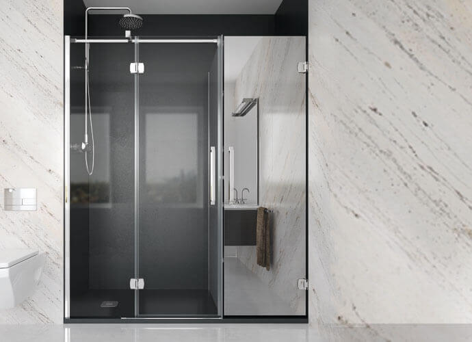 Hinged shower screen newglass Konvert with closed cabinet and mirror