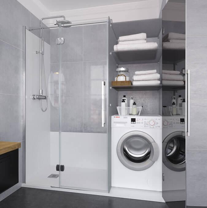 Konvert solution. Divisória de duche corrediça, abatível ou dobrável à medida. Profiltek