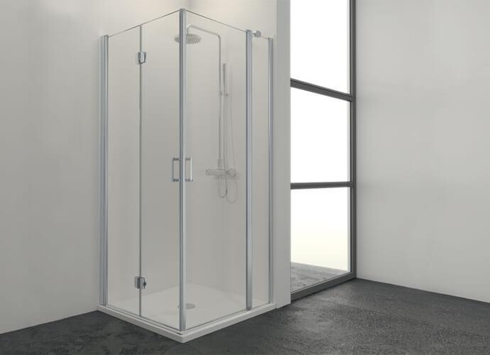 Mampara para baño perfil plata diseño a medida Profiltek ES214
