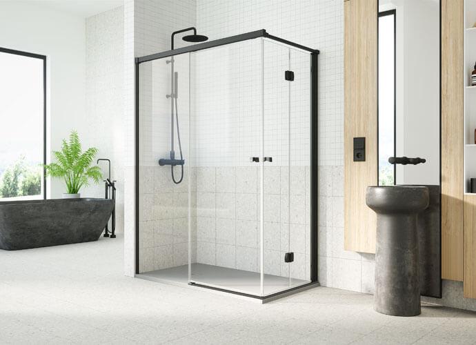 Mampara para baño corredera con abatible perfil negro diseño a medida Profiltek ES218