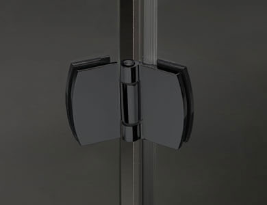 Bisagra. Acabado Negro Modelo NEWGLASS Abatible Profiltek